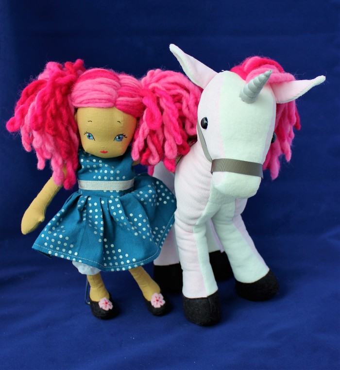 Doll and her unicorn, by Stitchified